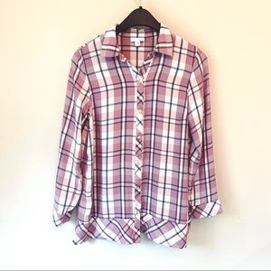 J. Jill Purple Plaid Silky Soft Button Down Top